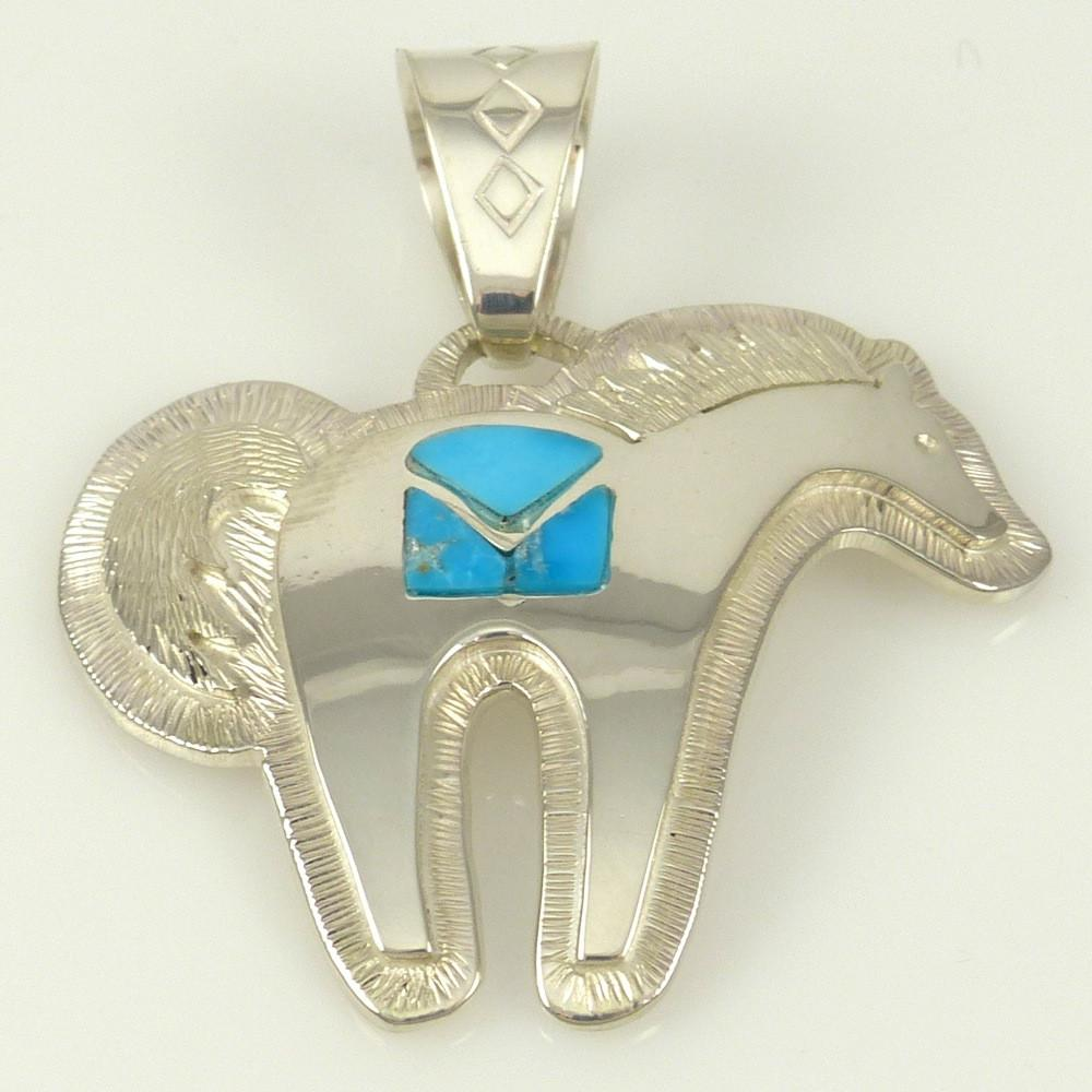 Horse Pendant with Inlaid Turquoise - Jewelry - Dina Huntinghorse - 1