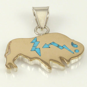 Gold on Silver Buffalo Pendant - Jewelry - Sean Taylor - 1