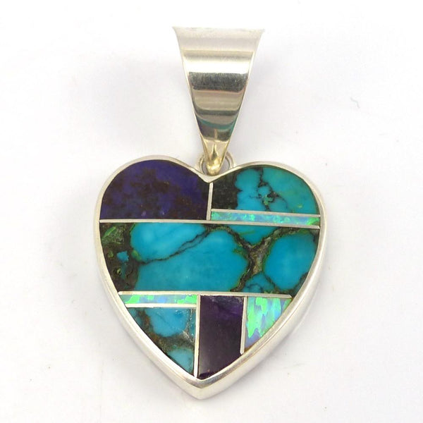 Inlay Heart Pendant, Tim Charley, Jewelry, Garland's Indian Jewelry