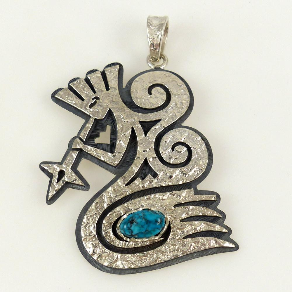 """Starblower"" Pendant with Turquoise - Jewelry - Ruben Saufkie - 1"