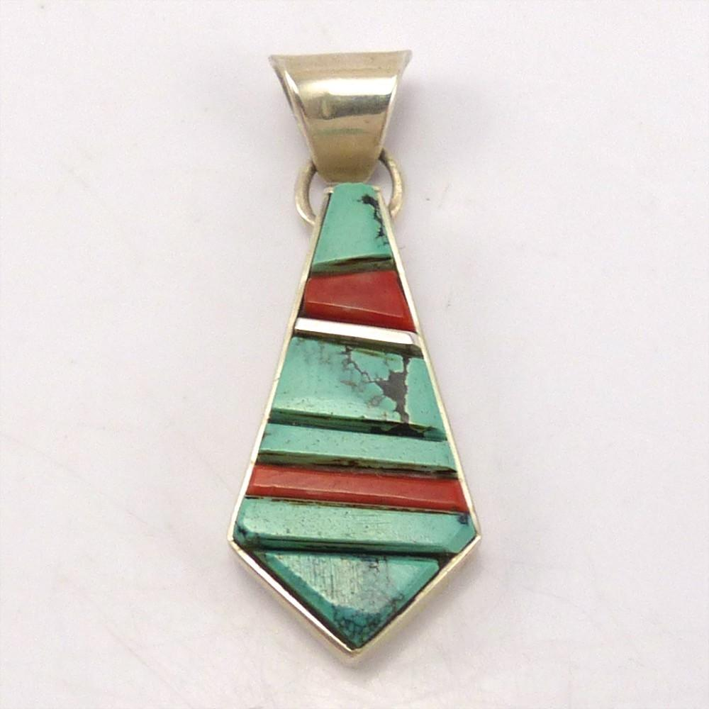 Turquoise and Coral Pendant, Ed and Patricia Becenti, Jewelry, Garland's Indian Jewelry