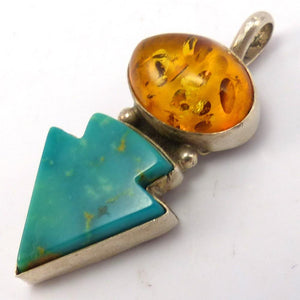 Turquoise and Amber Pendant, Veronica Yellowhorse, Jewelry, Garland's Indian Jewelry