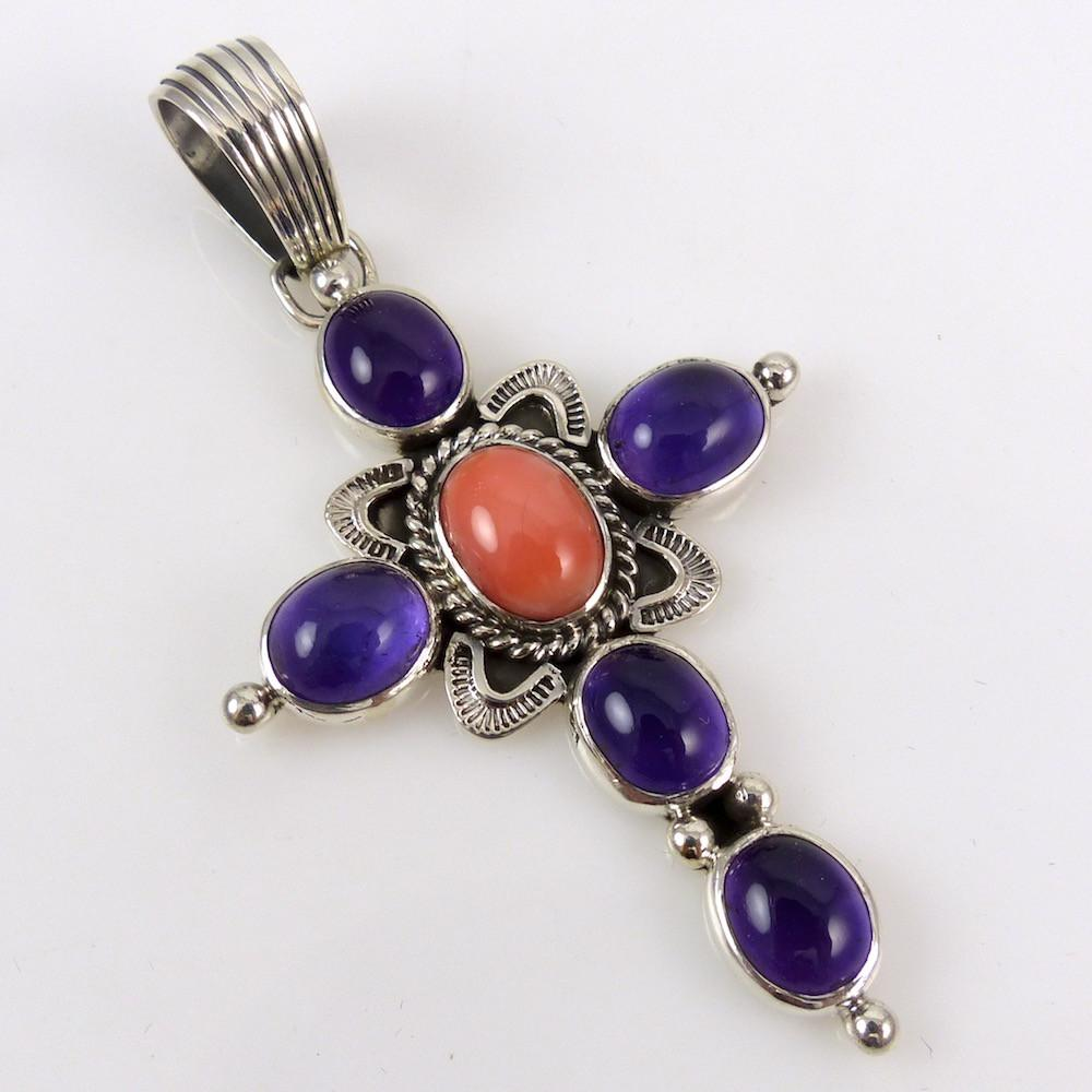 Amethyst and Coral Cross Pendant - Jewelry - Allison Lee - 1