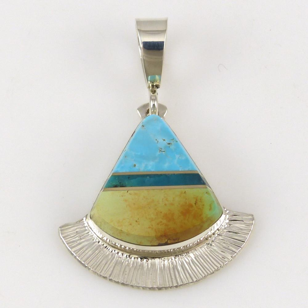 Blue Moon Turquoise and Gem Silica Pendant - Jewelry - Duane Maktima - 1