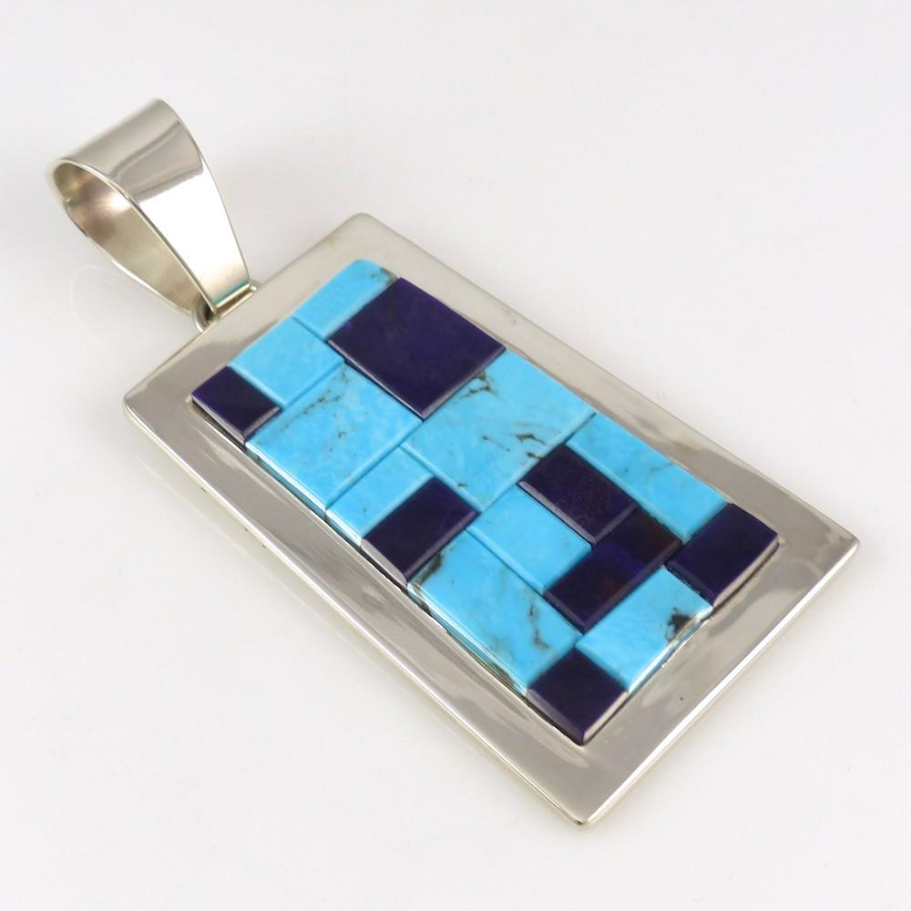 Kingman Turquoise and Lapis Pendant - Jewelry - Tommy Jackson - 1
