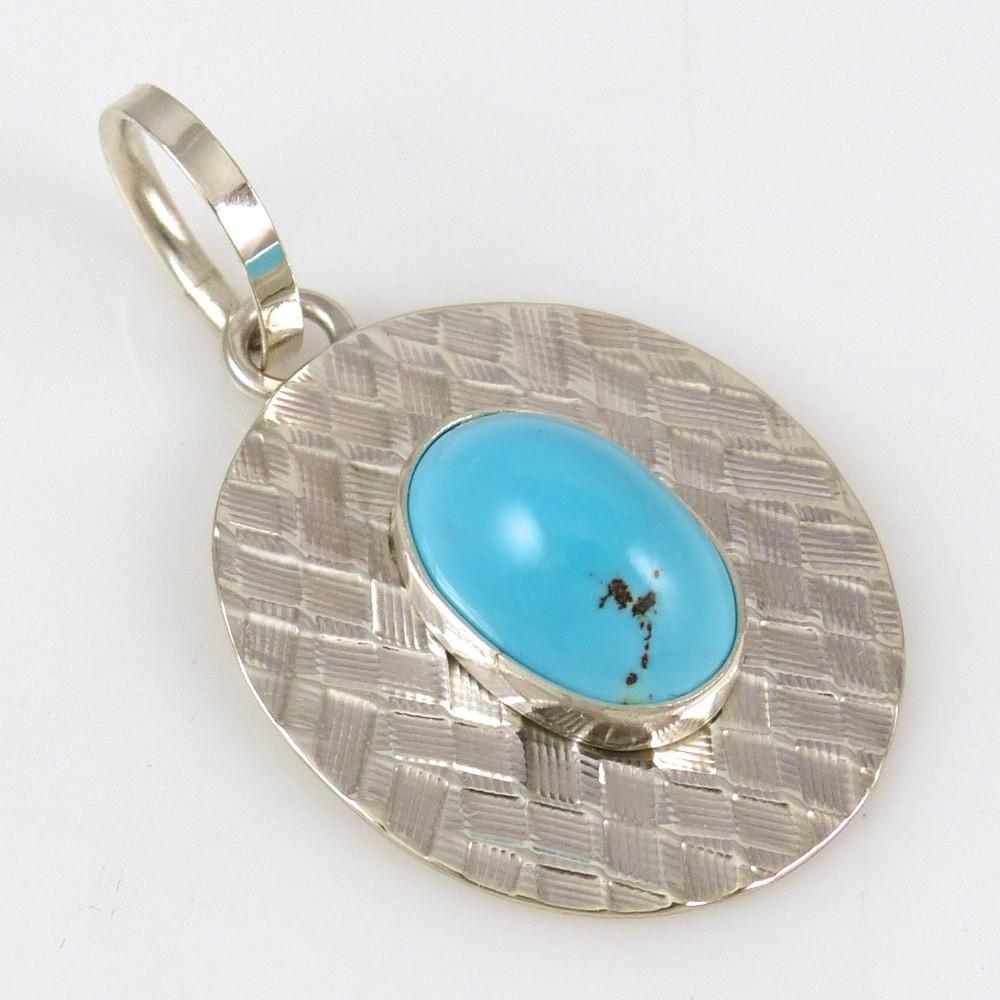 Persian Turquoise Pendant - Jewelry - Steven Yellowhorse - 1