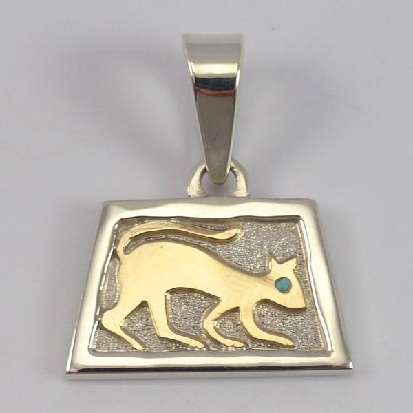 Gold on Silver Cat Pendant
