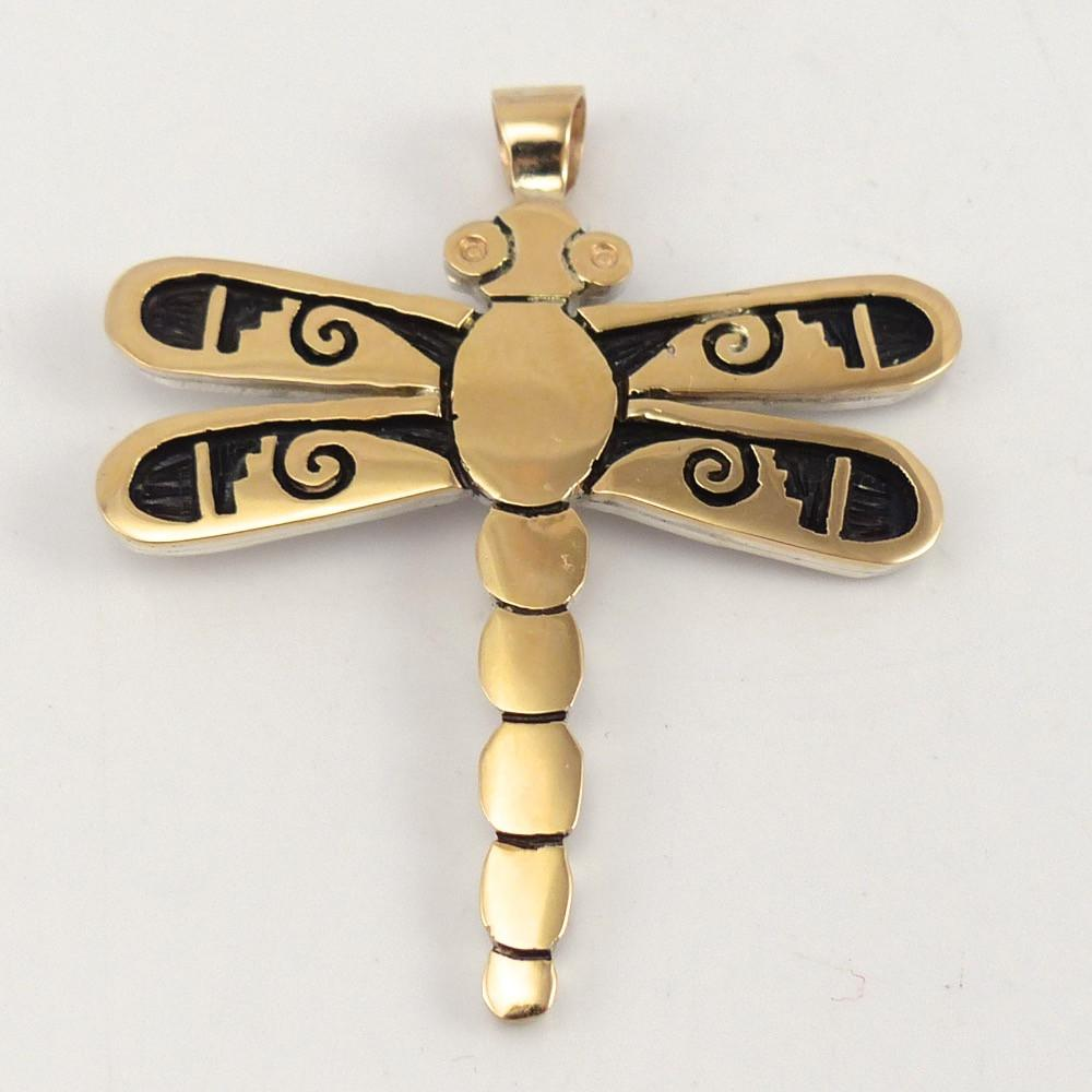 Gold on Silver Dragonfly Pendant - Jewelry - Watson Honanie - 1