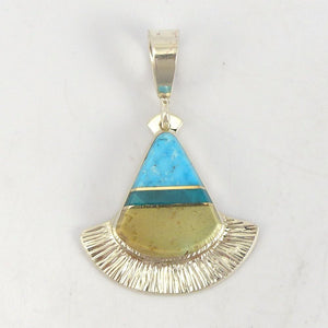 Turquoise and Gem Silica Pendant - Jewelry - Duane Maktima - 1