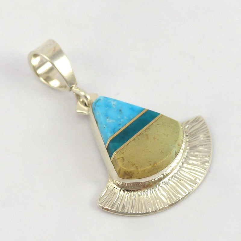 Turquoise and Gem Silica Pendant - Jewelry - Duane Maktima - 2