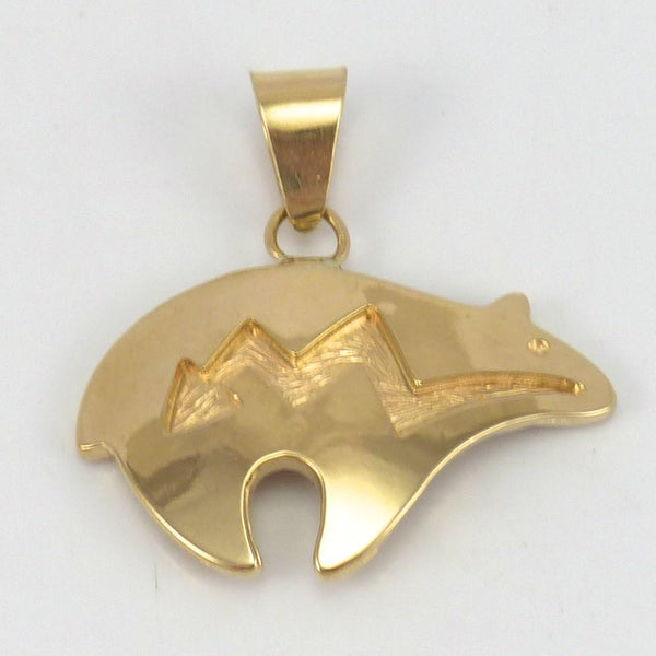 Gold Bear Pendant, Dina Huntinghorse, Jewelry, Garland's Indian Jewelry