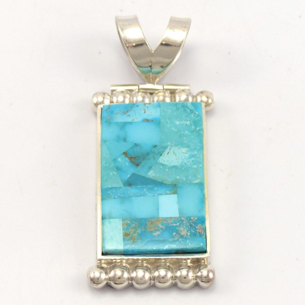 Turquoise Inlay Pendant, Bryon Yellowhorse, Jewelry, Garland's Indian Jewelry