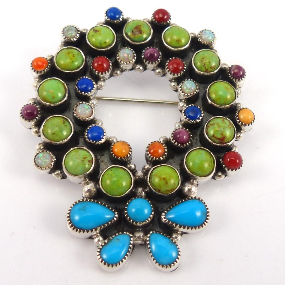 Holiday Wreath Pin, Dee Nez, Jewelry, Garland's Indian Jewelry