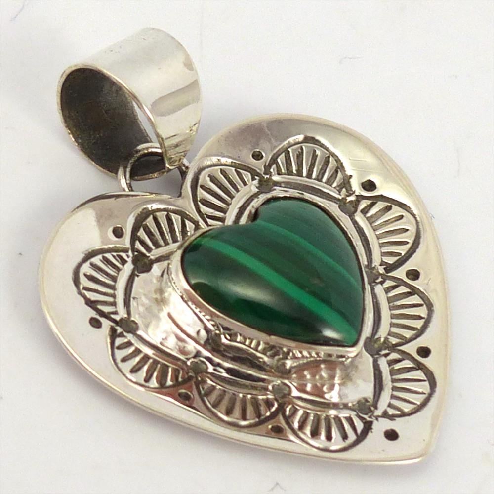 Malachite Heart Pendant, Toby Henderson, Jewelry, Garland's Indian Jewelry