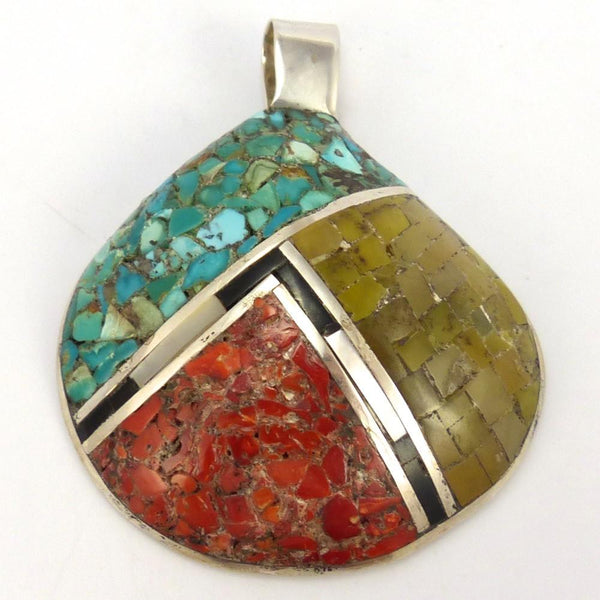 Multi-Stone Inlay Pendant, Mary Coriz and John Aguilar, Jewelry, Garland's Indian Jewelry