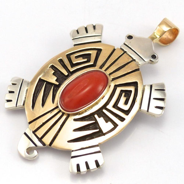Coral Turtle Pendant, Watson Honanie, Jewelry, Garland's Indian Jewelry