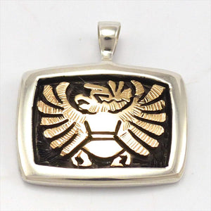 Gold on Silver Eagle Pendant, Watson Honanie, Jewelry, Garland's Indian Jewelry