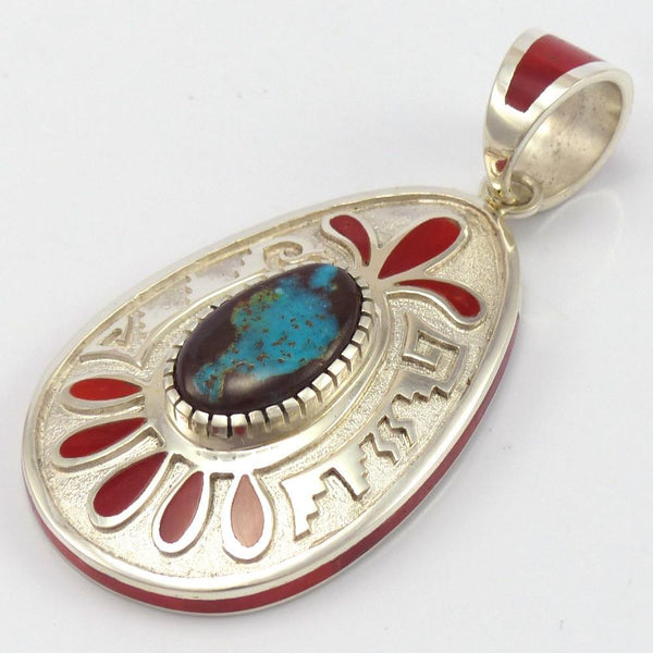 Bisbee Turquoise and Coral Pendant, Michael Perry, Jewelry, Garland's Indian Jewelry