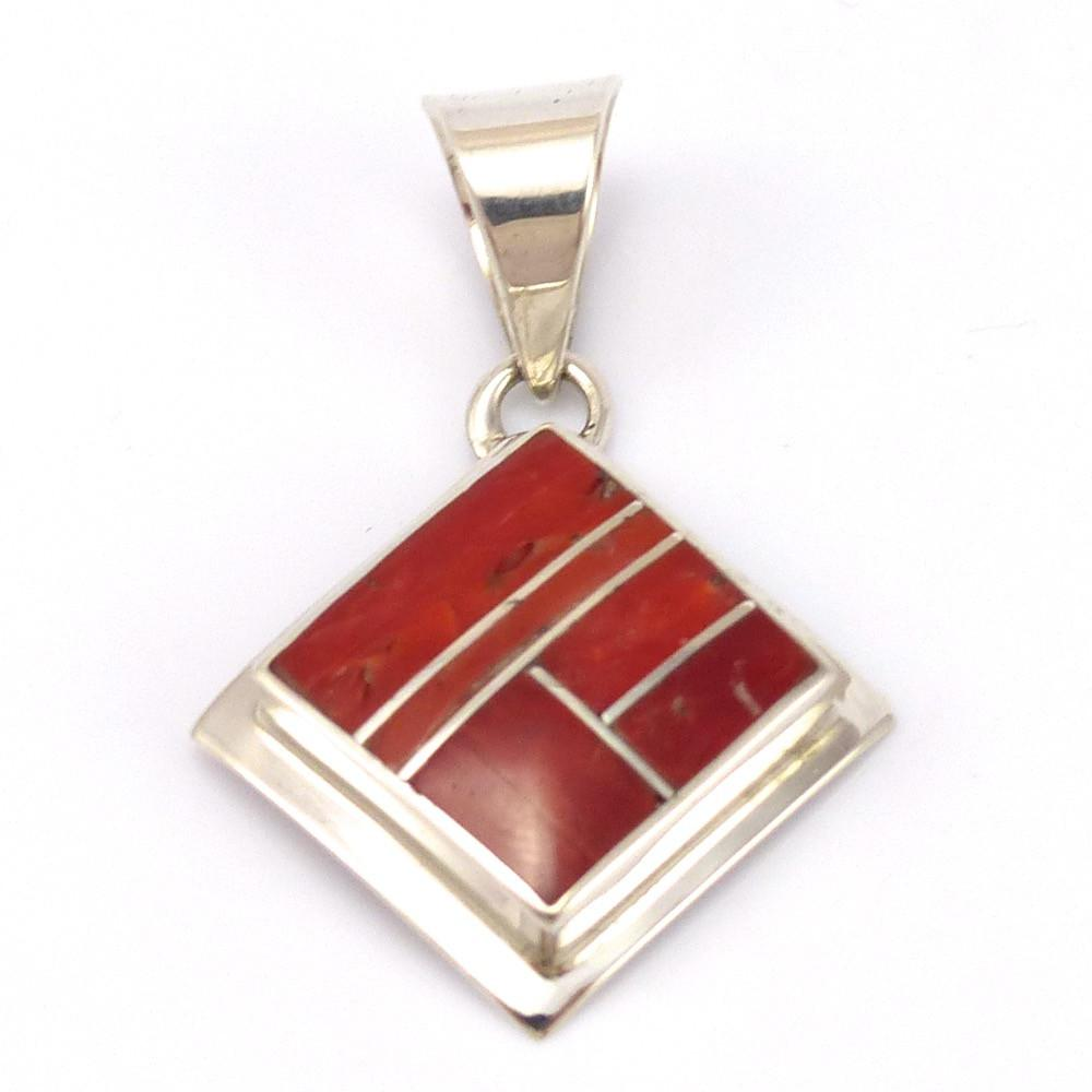 Coral Inlay Pendant, Peterson Chee, Jewelry, Garland's Indian Jewelry