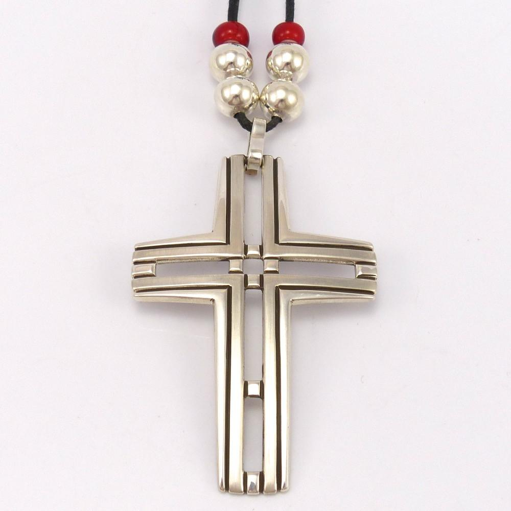 Cross Pendant On Leather Garland S Indian Jewelry