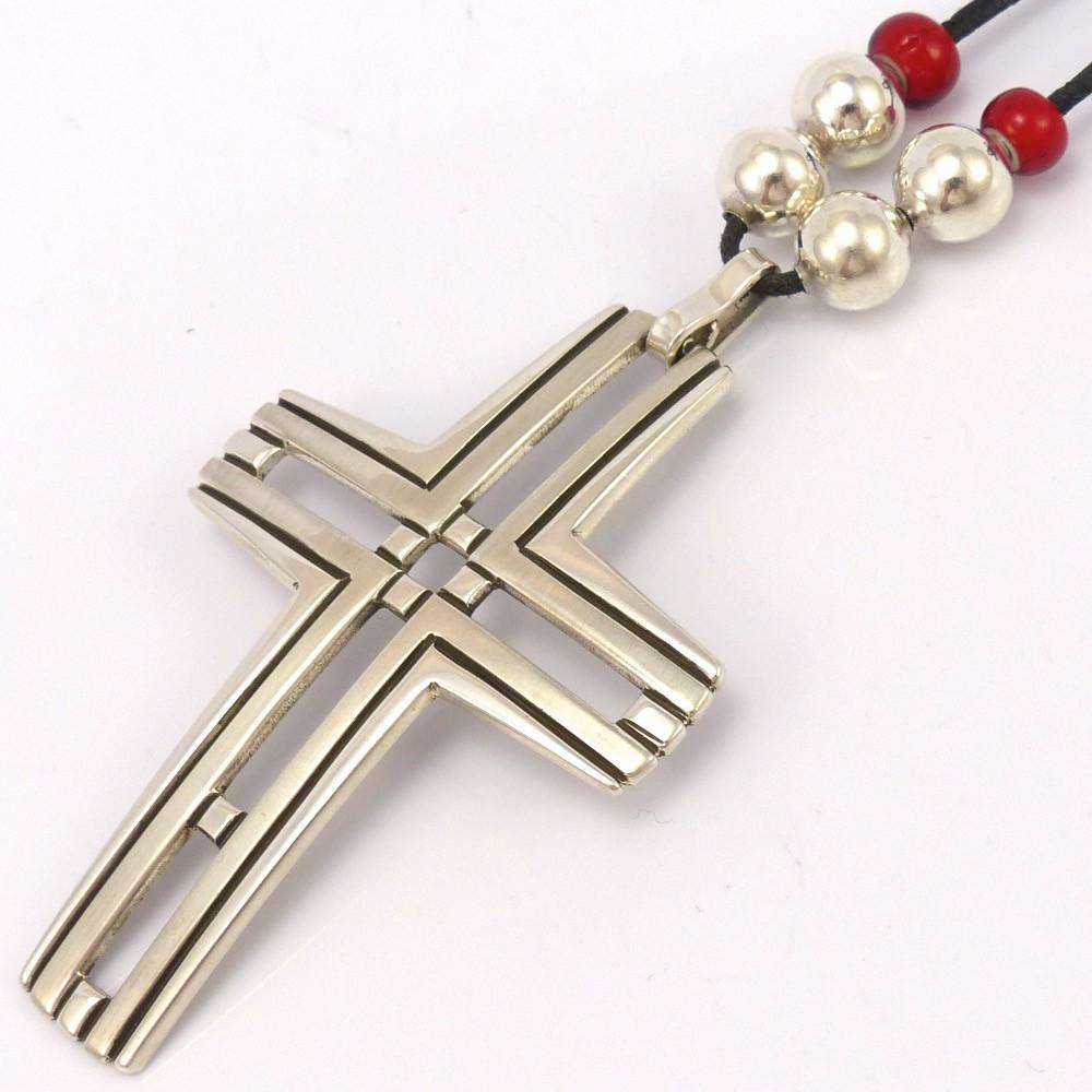 Cross Pendant on Leather, Waddie Crazyhorse, Jewelry, Garland's Indian Jewelry