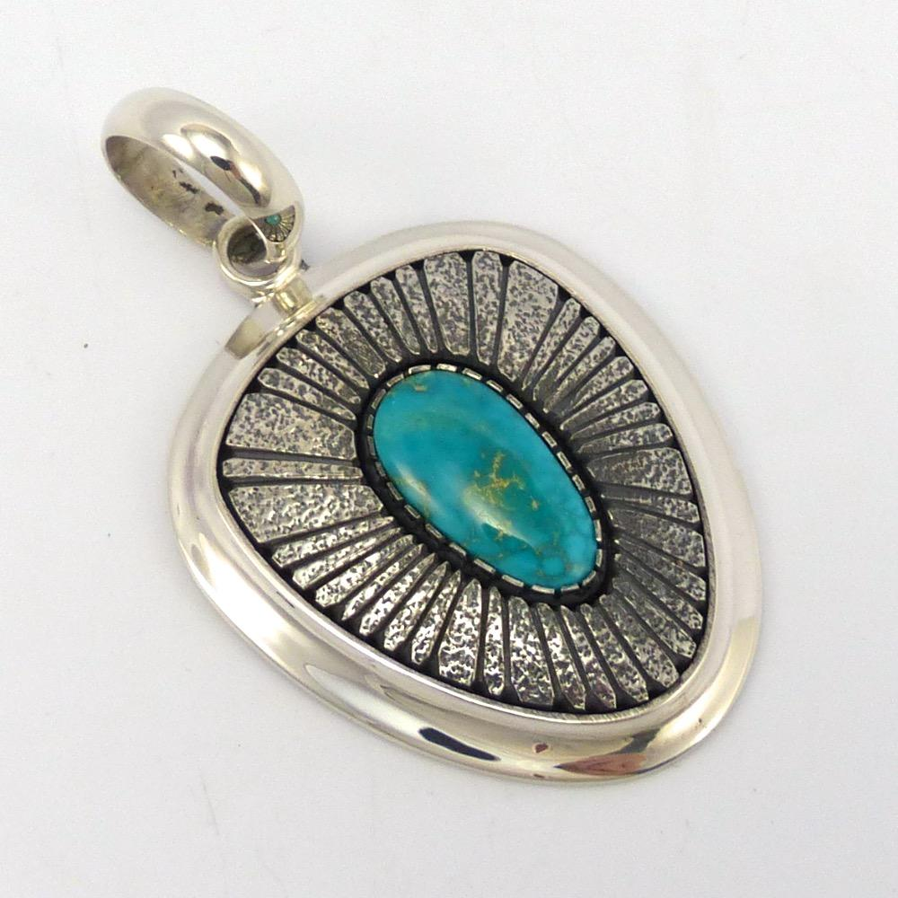 Blue Gem Turquoise Pendant, Al Joe, Jewelry, Garland's Indian Jewelry