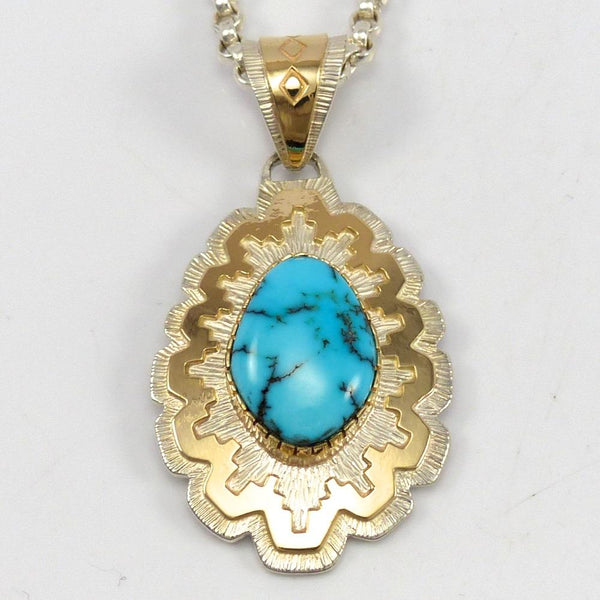 Lone Mountain Turquoise Pendant, Dina Huntinghorse, Jewelry, Garland's Indian Jewelry