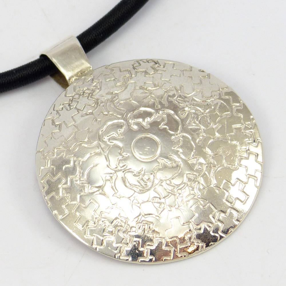 Stamped Silver Pendant