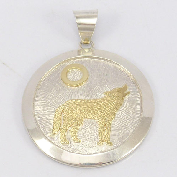 Gold on Silver Wolf Pendant