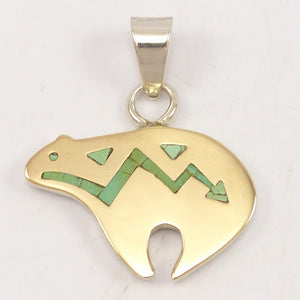 Gold on Silver Bear Pendant