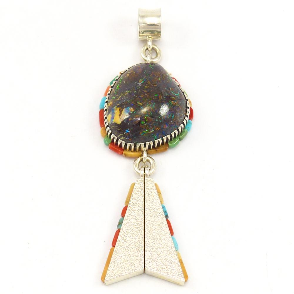 pendant black gem products copy bouder set in opal boulder grade with diamonds