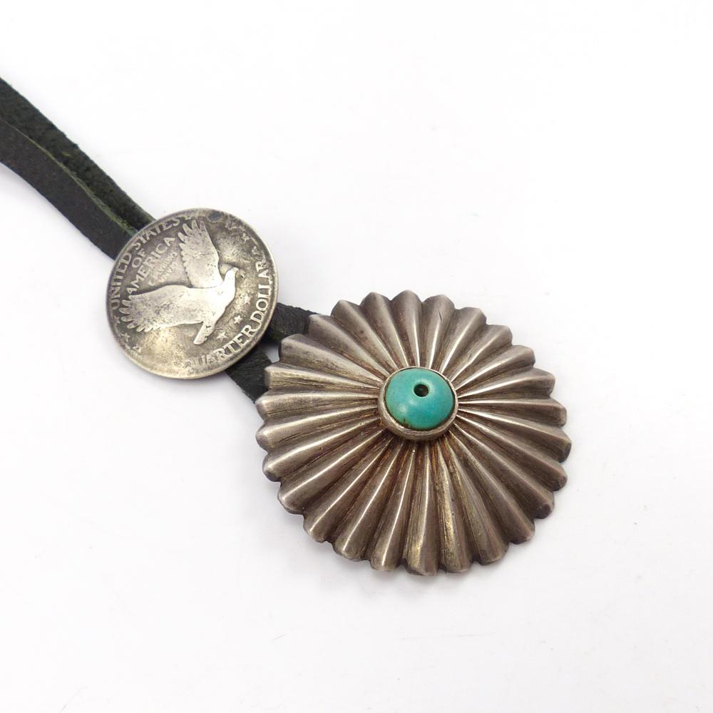 Turquoise and Quarter Pendant
