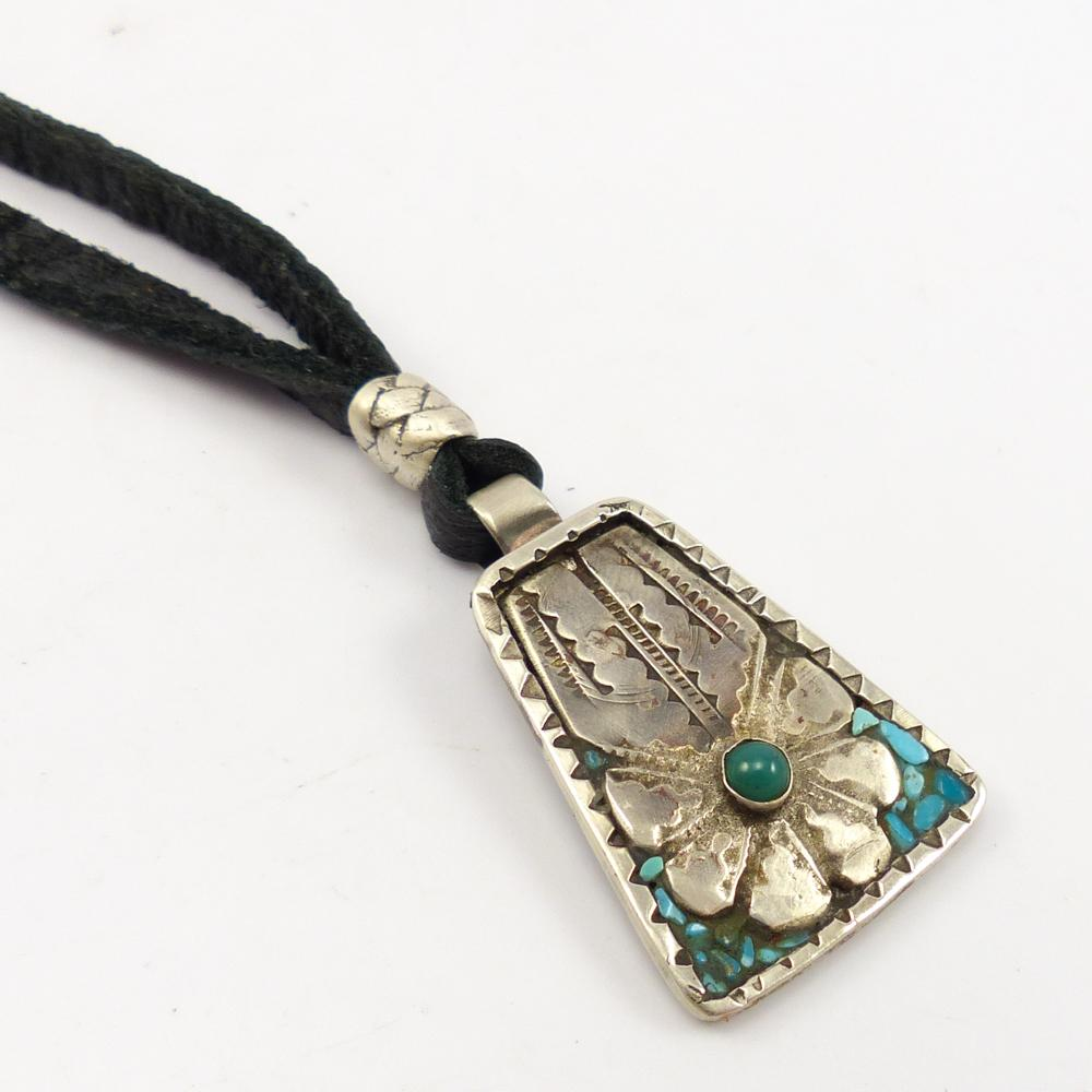 Turquoise Pendant on Leather