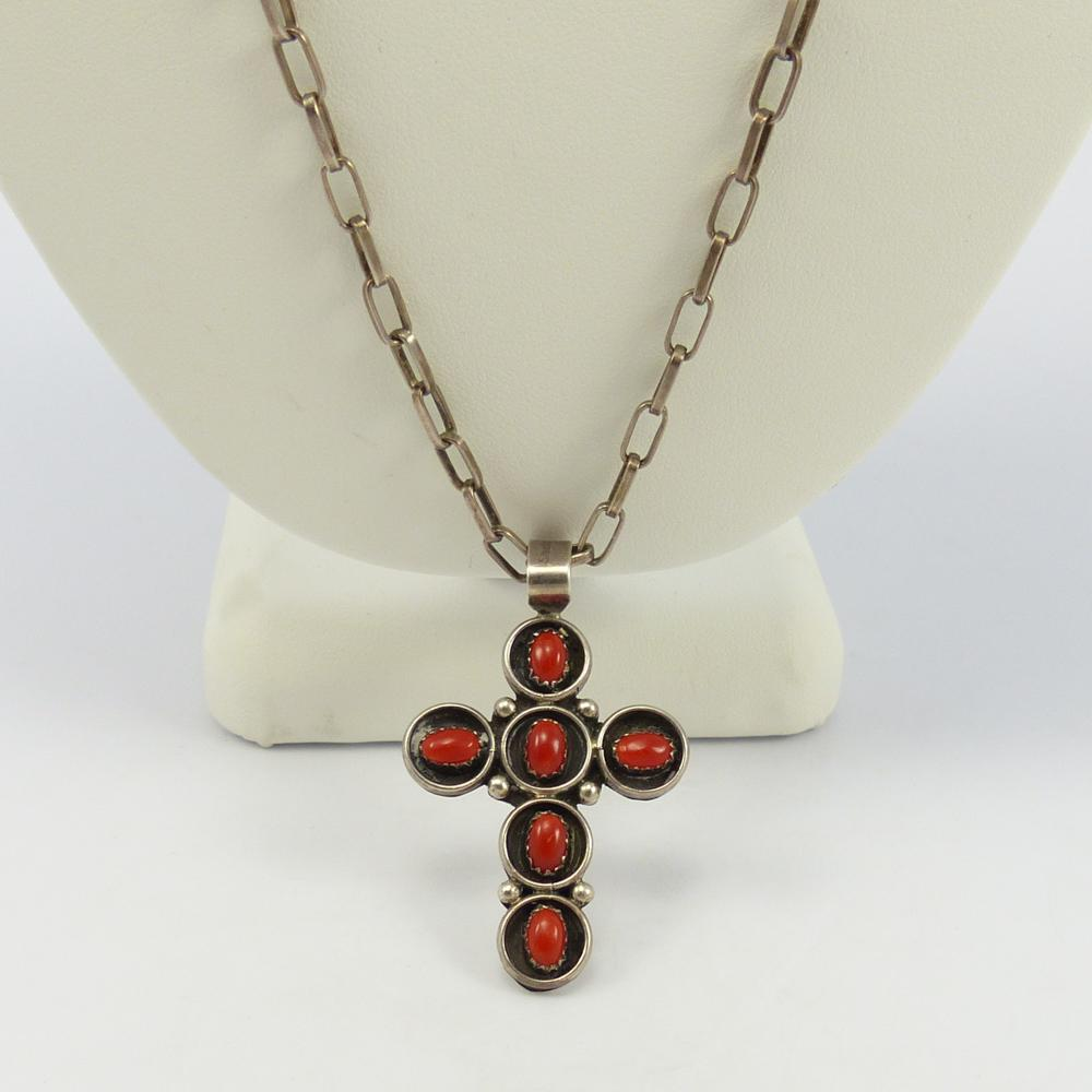 Coral Cross on Chain Necklace