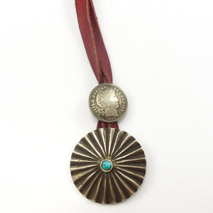 Turquoise and Coin Pendant