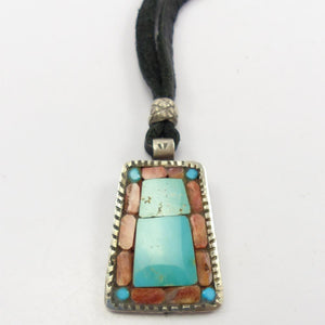 Inlay Pendant on Leather