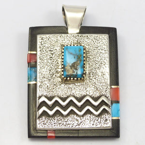 Kingman Turquoise and Coral Pendant