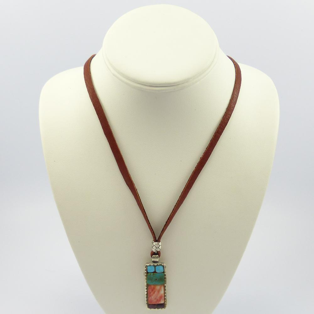Inlay Pendant on Leather Cord