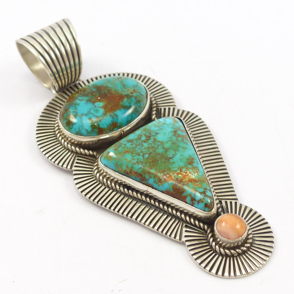 Turquoise and Angel Coral Pendant