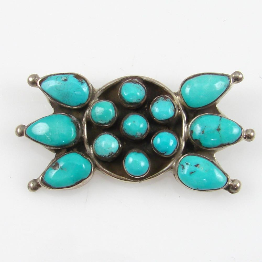 Sterling Silver Pin with Sleeping Beauty Turquoise - Jewelry - Annie Begay - 1