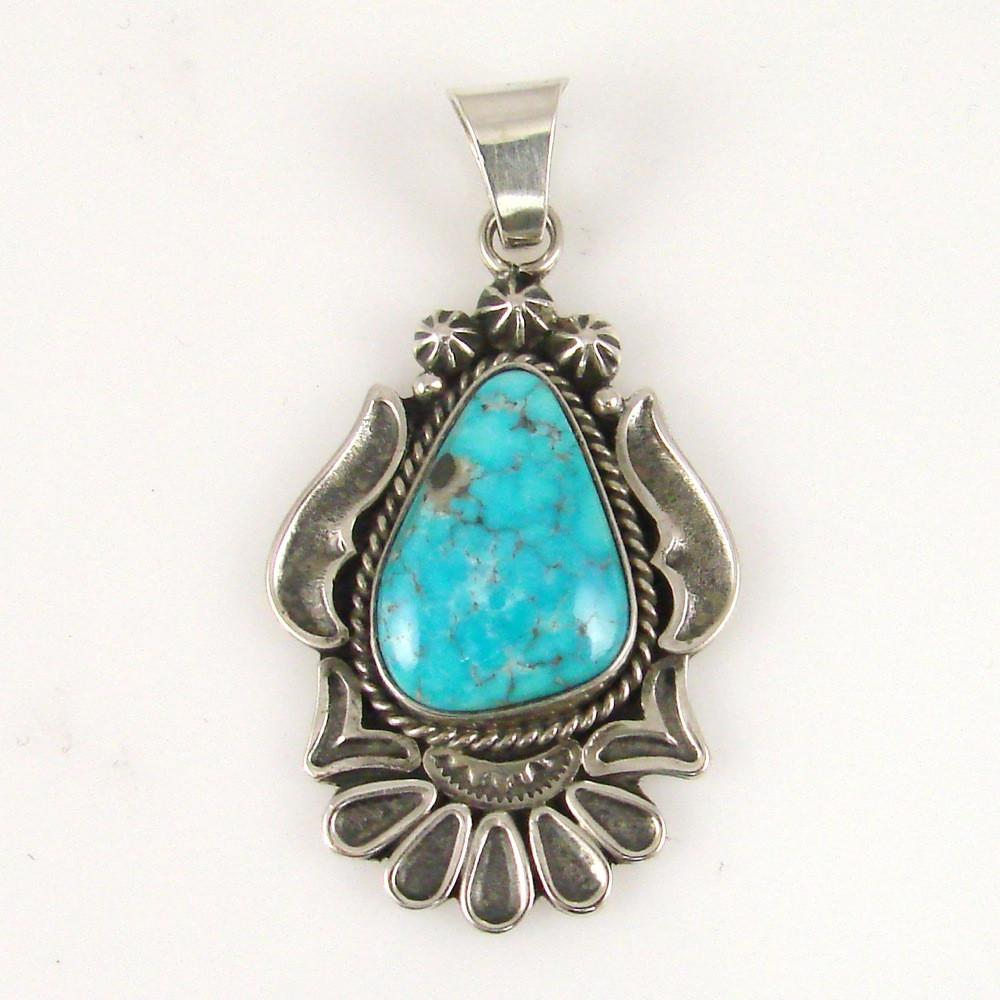 Silver Pendant with Turquoise - Jewelry - Thomas Jim - 1