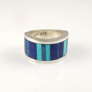 Turquoise and Lapis Inlaid Ring - Jewelry - Melanie and Michael Lente - 1