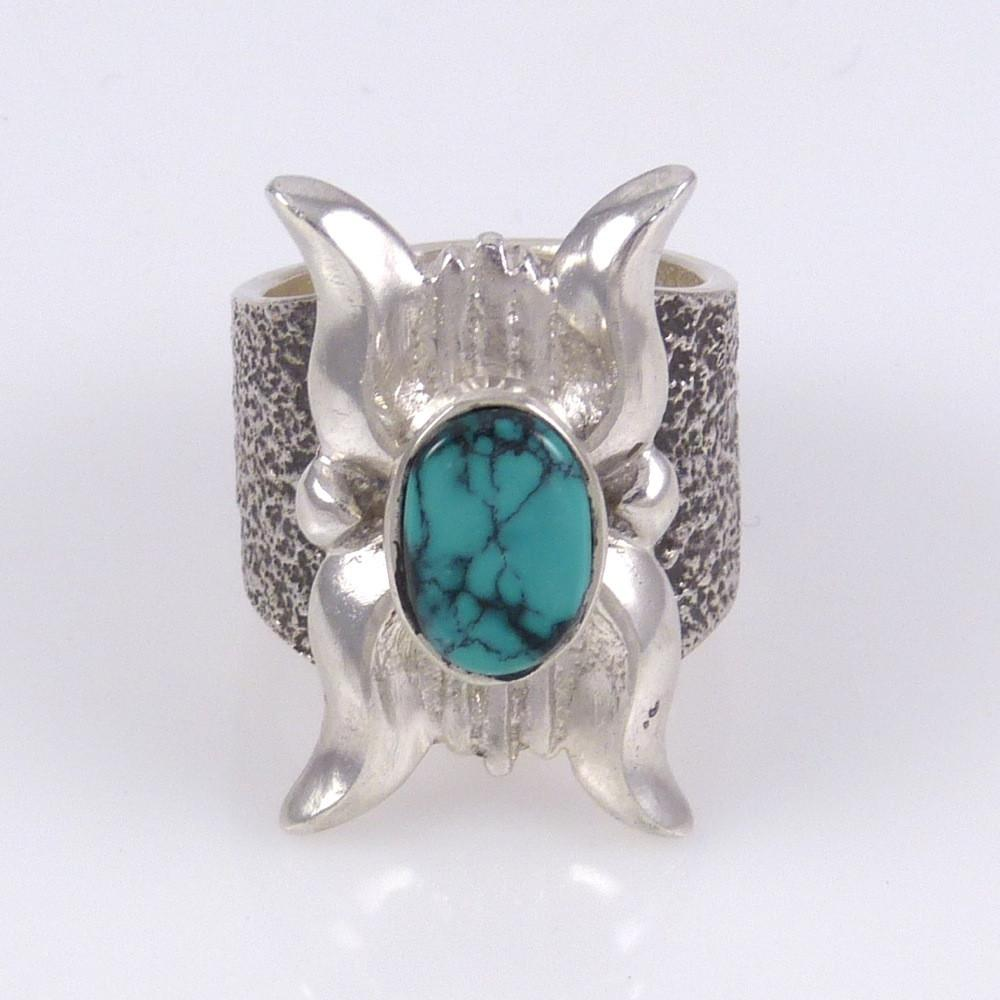 Turquoise Ring with Ketoh Design - Jewelry - Lee Begay - 1