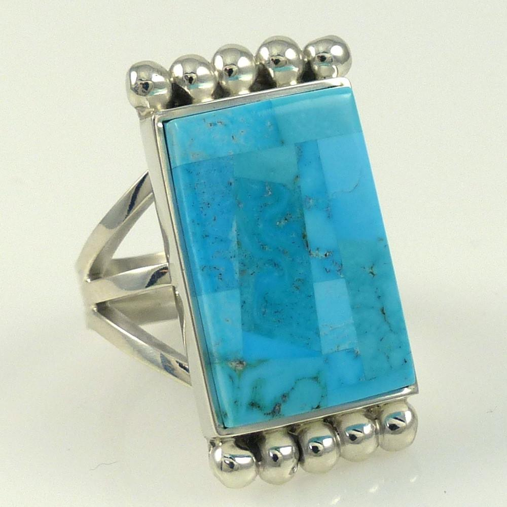 Turquoise Inlay Ring - Jewelry - Bryon Yellowhorse - 1