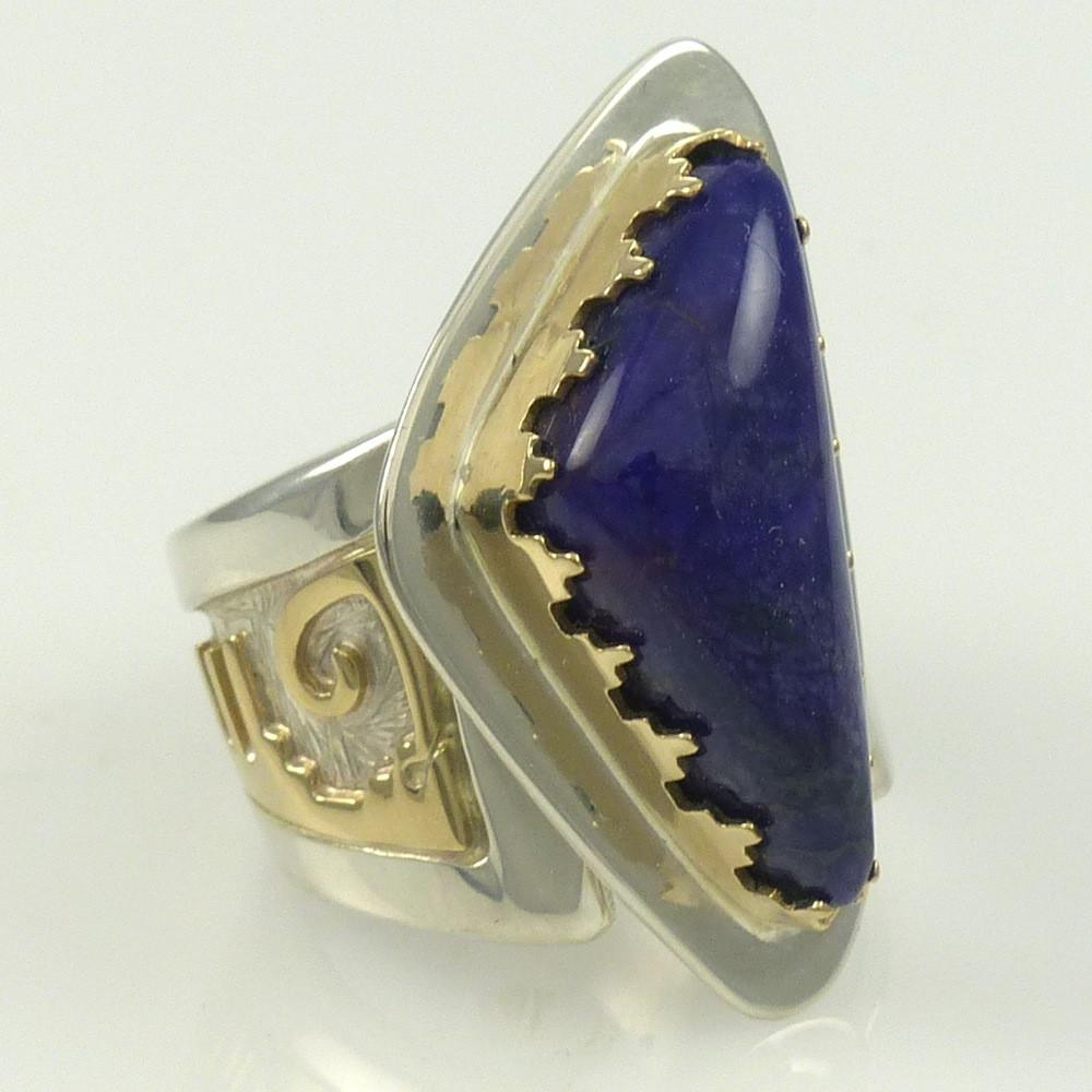 Gold and Silver Sugilite Ring - Jewelry - Dina Huntinghorse - 1