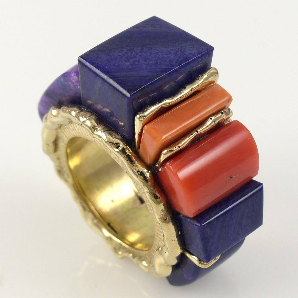 High Rise Inlay Ring - Jewelry - Alvin Yellowhorse - 1