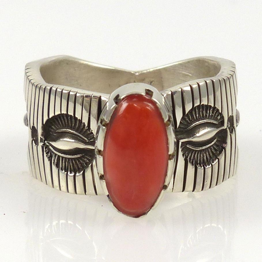 Coral Ring - Jewelry - Philbert Begay - 1