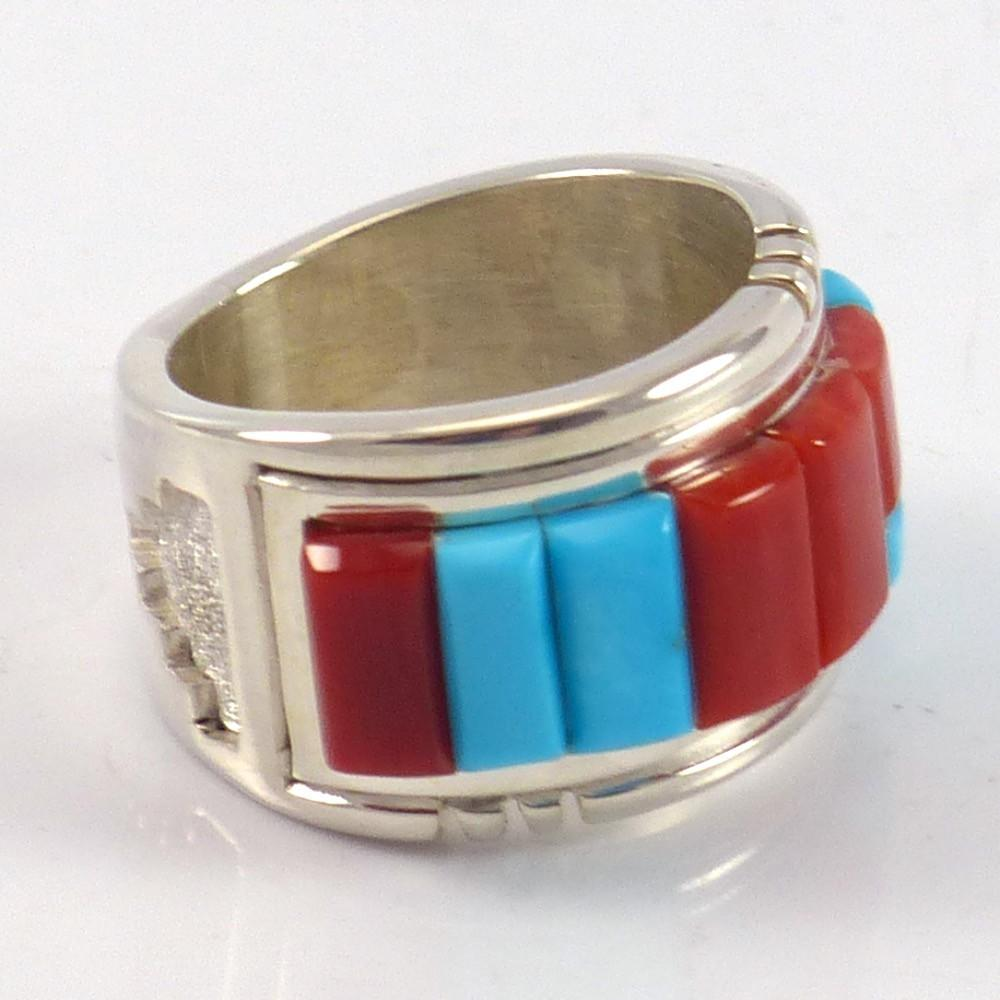 Turquoise and Coral Ring - Jewelry - Michael Perry - 1