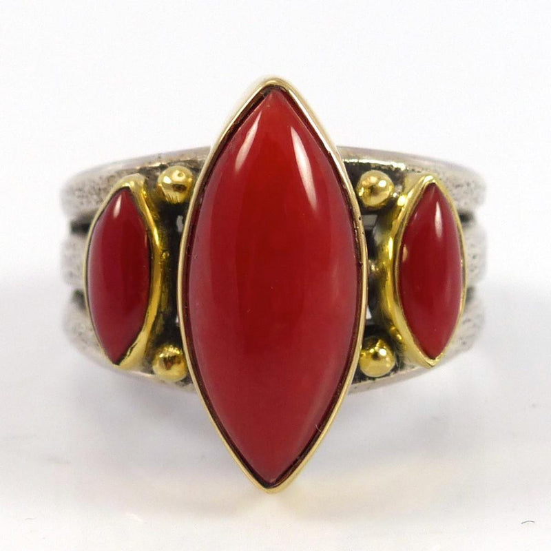 Coral and Gold Ring - Jewelry - Noah Pfeffer - 1