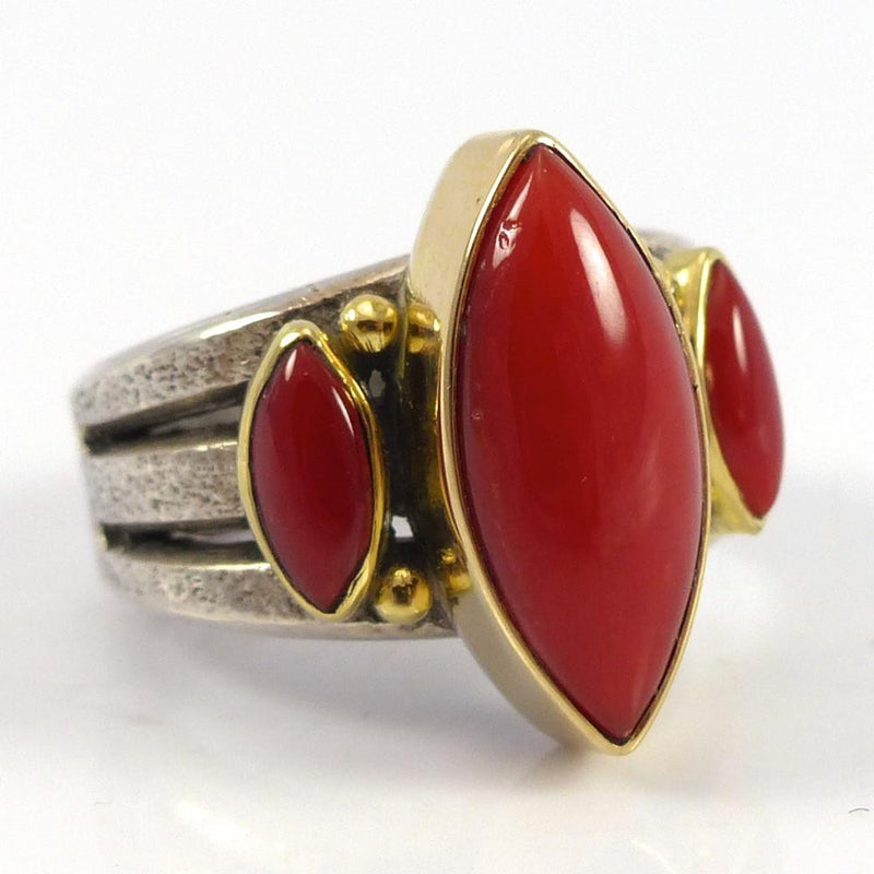 Coral and Gold Ring - Jewelry - Noah Pfeffer - 2